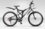 Велосипед 26' двухподвес, рама алюминий STELS ADRENALIN V серо-черный, 21 ск., 20'