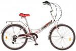 Велосипед NOVATRACK 24' складной FS тормоз V-brake, белый/красный, 6 ск. 24 FTG6PV.WT 7