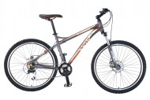 Велосипед STINGER 26' хардтейл, рама алюминий, ZETA серый-белый-красный, 24ск. Х43974-K (17)