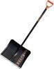 Лопата снеговая пластик ЦИ Finland 410*490 мм, деревянный черенок 1243-ч